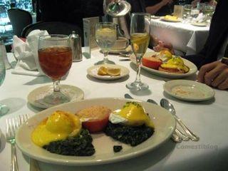 Eggs Sardou (foreground) and Eggs Hussarde
