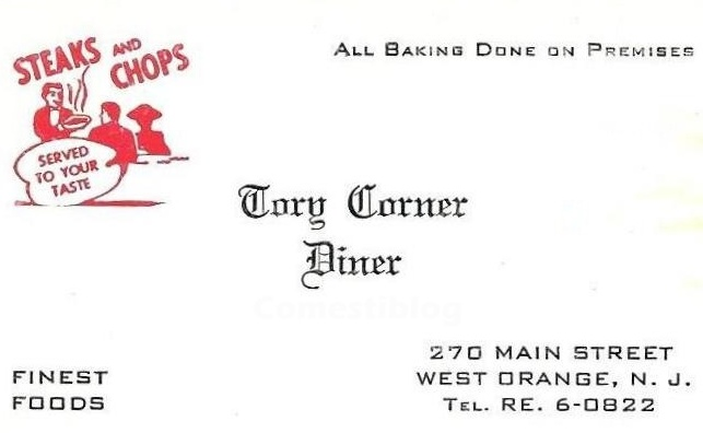 Tory Cory Diner business card