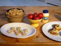 Mini Fish Tacos and Egg Salad on English Muffins