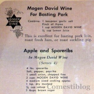 Mogen David wine and pork