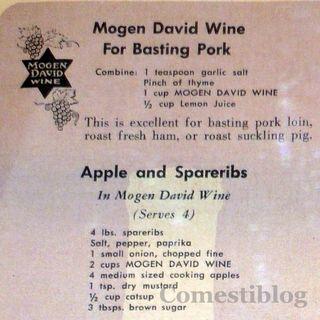 Mogen David wine and pork