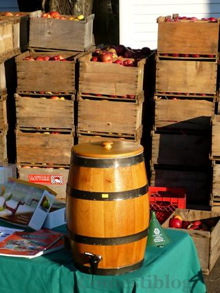 Fresh cider barrel