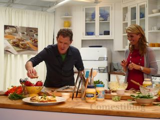 Bobby and Lori preparing Egg Salad on English Muffins
