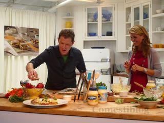 Bobby and Lori preparing Egg Salad on English Muffins