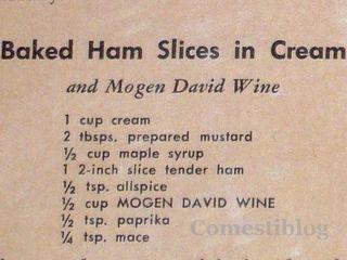 Mogen David wine and baked ham