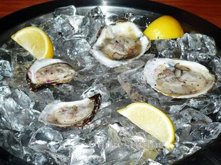 Oysters: Malpaque (left) and Blue Point (right)