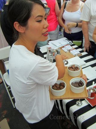 Savory chocolate samples from Magique